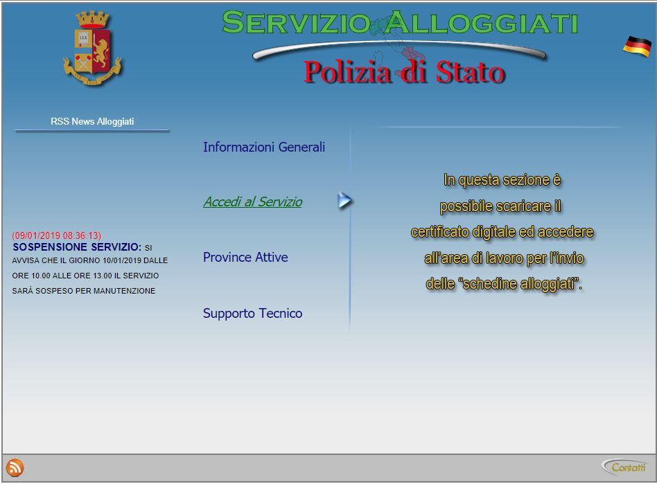 segnalazione portale alloggiati schedine alloggiati polizia di stato software
