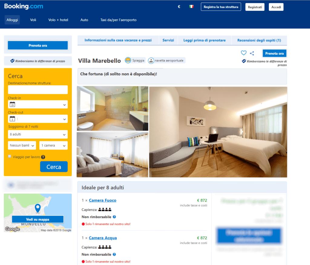 Esempio della vendita dei singoli alloggi sul portale OTA Booking