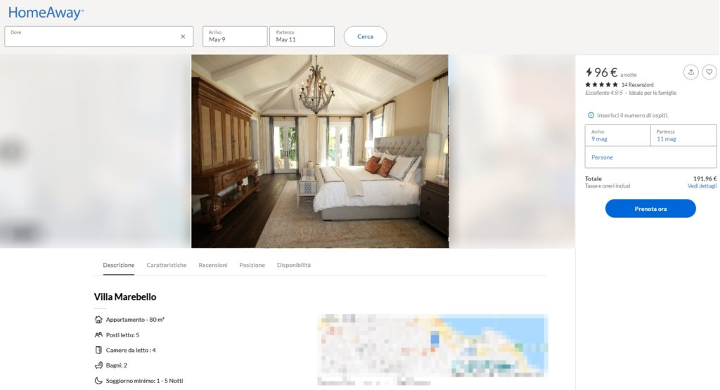 Esempio della vendita di un intero immobile sul portale OTA Homeaway