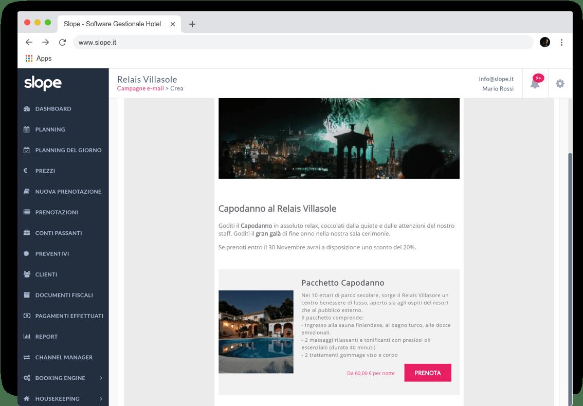 Schermata desktop creazione campagne email backoffice Slope