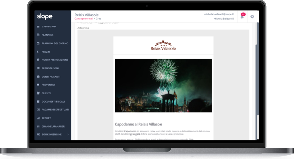 Schermata laptop creazione campagne email backoffice Slope