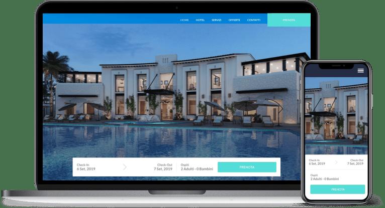 Widget prenotazioni Slope mobile e laptop con colore di accento azzurro