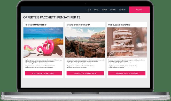 Widget promozioni Slope mobile e laptop con colore di accento magenta