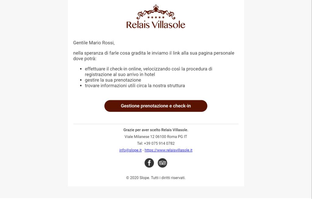 Esempio di email di pre-stay in cui si invita il cliente ad effettuare le operazioni di registrazioni