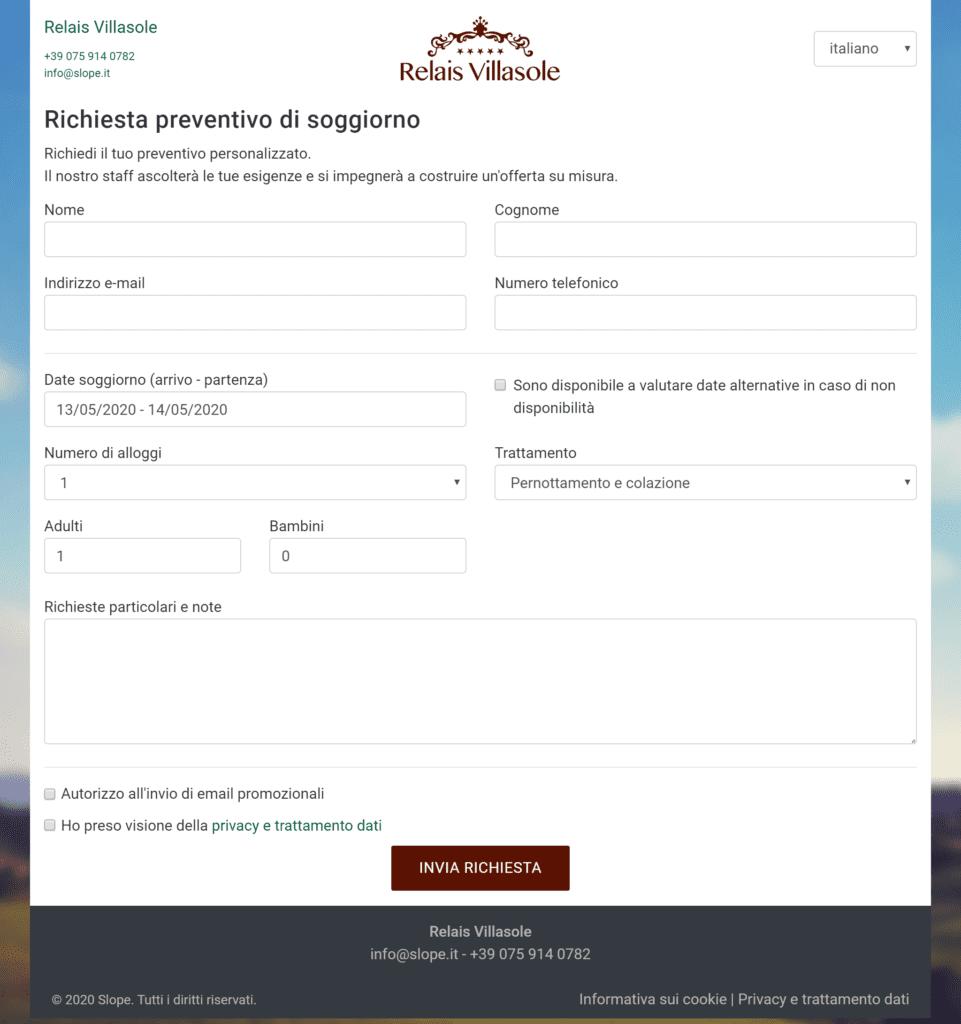 Esempio di una richiesta di preventivo ad un hotel attraverso il form di contatto integrato nel sito web