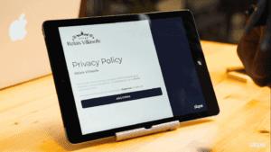 Esempio del modulo privacy di Slope che il cliente firma in hotel al momento del check-in