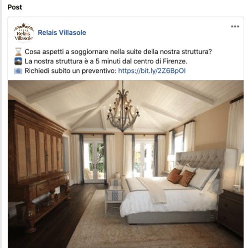 Esempio dell'utilizzo di emoji nella comunicazione alberghiera all'interno di una pagina Facebook
