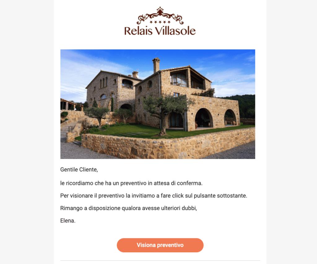 Esempio di un'email di follow up automatica inviata dal gestionale Slope
