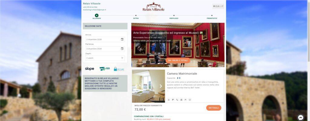 Esempio di un booking engine nella fase di prenotazione del soggiorno